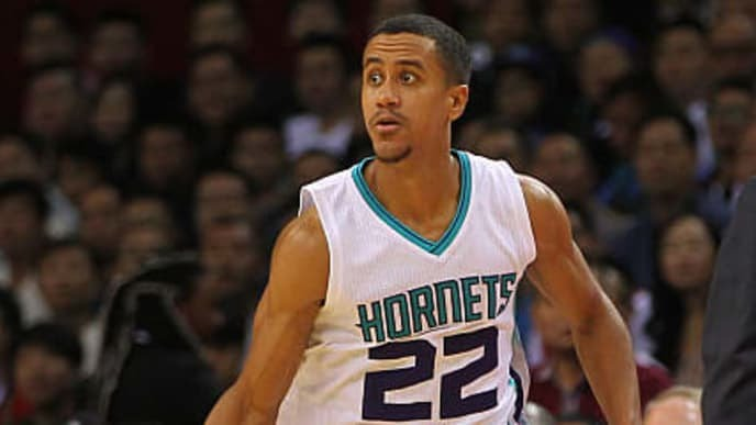 SHENZHEN, CHINA - OCTOBER 11: Brian Roberts #22 of Charlotte Hornets handles the basketball during the match between Charlotte Hornets and Los Angeles Clippers as part of the 2015 Global Games China at Universiade Centre on October 11, 2015 in Shenzhen, China. (Photo by Zhong Zhi/Getty Images)