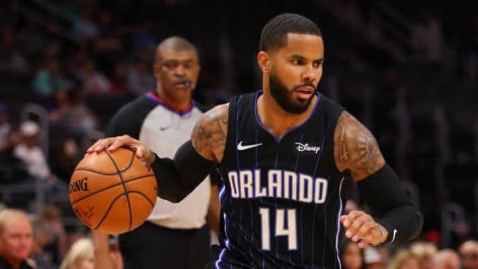 DETROIT, MICHIGAN - OCTOBER 07: D.J. Augustin #14 of the Orlando Magic plays against the Detroit Pistons at Little Caesars Arena on October 07, 2019 in Detroit, Michigan.  NOTE TO USER: User expressly acknowledges and agrees that, by downloading and/or using this photograph, user is consenting to the terms and conditions of the Getty Images License Agreement. (Photo by Gregory Shamus/Getty Images)